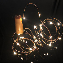 1M 2M LED Garland Copper Silver Wire String Lights 10 20 LEDs Bottle Stopper Fairy for Holiday Wedding Party Decor