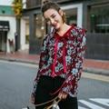 Новый Женский Весенняя Мода Дизайн Большой Цветочный Блузка Трепал v-образным вырезом галстуки Длинные Flare Рукавом Сельской Местности Скотоводство Красный Blusas