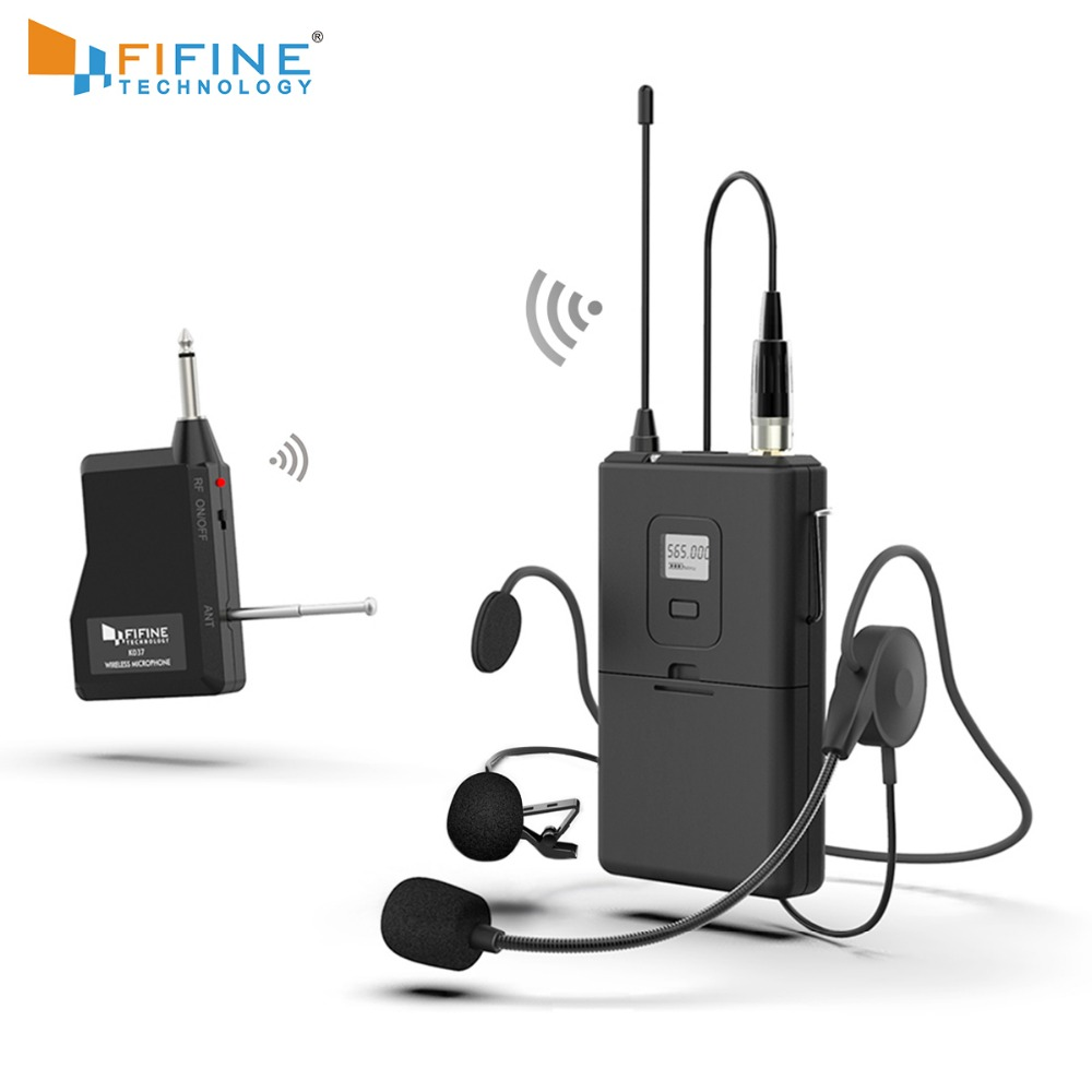 FIFINE 20-Channel UHF1/4 Inch Output Lavalier& Headset Microphone Transmitter For Camera Meeting Teaching Speech Hand Free 037B