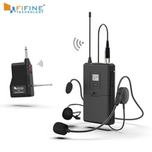FIFINE 20 Channel UHF1/4 Inch Output lavalier& headset Microphone Transmitter for Camera Meeting Teaching Speech Hand free 037B