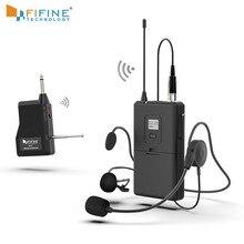 FIFINE 20 canaux UHF1/4 pouces sortie lavalier et casque Microphone émetteur pour caméra réunion enseignement discours main libre 037B