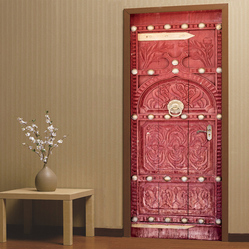 3D Medieval Retro Style Scarlet Door DIY Door Art Mural Wall Sticker Home  Decor Bedroom PVC Removable Wallpaper Poster Large Wall Art Decals Large
