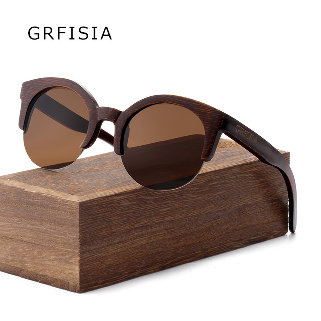 online retailer best authentic 50% off GRFISIA Semi Rimless Bamboo Round Women New fashion Sunglasses Men Brands  Designer HD Handmade UV400 sunglasses G013-in Sunglasses from Women's ...
