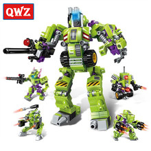 QWZ New 4 In 1 Legoings Super Cool Mech Transformer Robot DIY Building Blocks Bricks Kit Toys Kids Birthday Christmas Gifts(China)