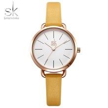 Shengke Relógio Mulher 2018 Moda Quartz Relógio de Pulso Pulseira de Couro Simples Escala Senhoras Relógios SK Mulheres Relógio relogio feminino
