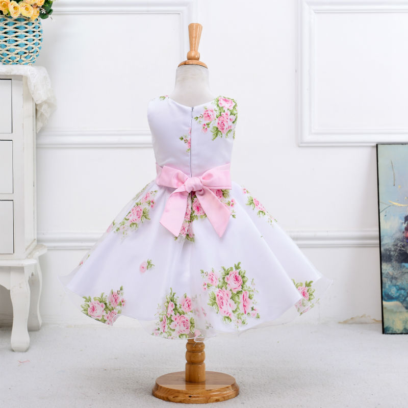 7962dbc73b02 New style summer baby girl print flower girl dress for wedding girls party  dress with bow dress for 2 3 4 5 6 7 8 Years girls-in Dresses from Mother &  Kids ...
