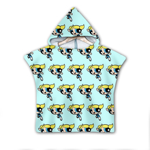 Power puff Girls Hooded baby Boys and Towel Wearable Bath For Kids Travel 3D print Beach Towels style-4