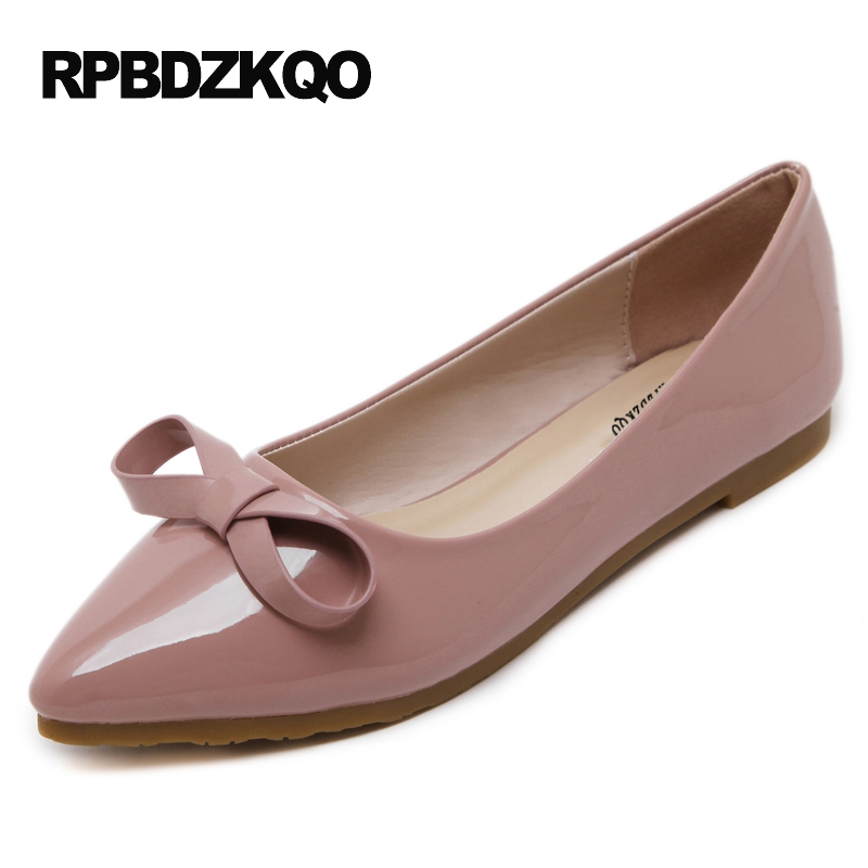 Flats Women Pink Pointed Toe Beautiful 2017 Slip On 10 Size 42 34 Bow Ladies Shoes Large Patent Leather European Latest Spring 2017 new fashion women summer flats pointed toe pink ladies slip on sandals ballet flats retro shoes leather high quality