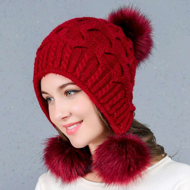 Fall Winter Shawl Cap Neutral Knitted Wool Fur Casual Cap and Rabbit Wool Fluffy Pure Color Ski Gorros Hat Protect Mothers Ear