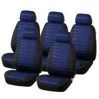 AUTOYOUTH 15PCS Van Seat Covers Airbag Compatible 5MM Foam Universal 5x Seater Seats Checkered Blue Interior