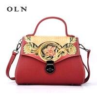 OLN Luxury Multi Pockets Vintage Genuine Leather Bag Female Small Women Handbags Bags For Women 2018 Shoulder Crossbody Bag