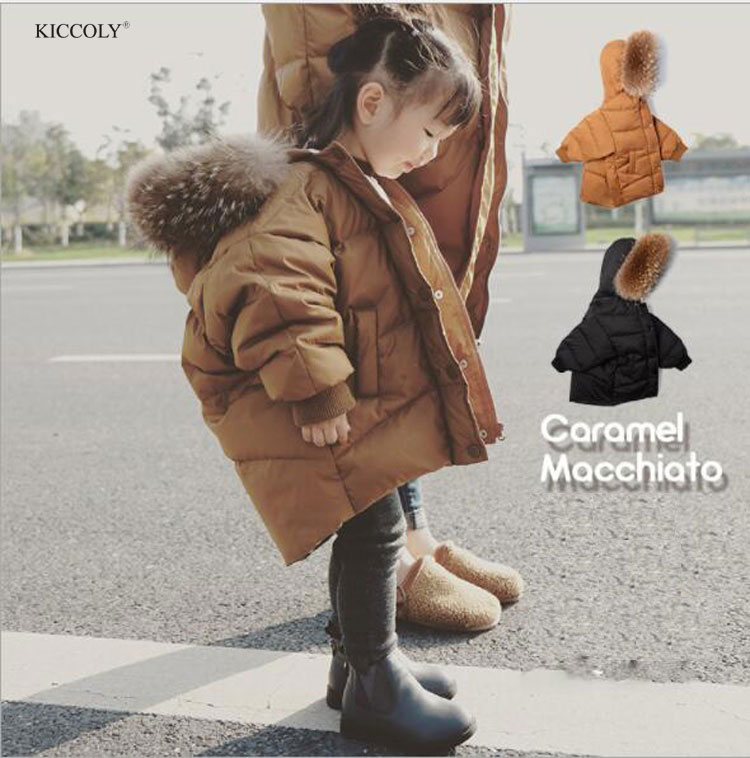 KICCOLY 2018 Fur Hood Jacket For Girls Baby Boy Clothes Snow Wear Parka Thick Cotton-Padded Winter Jacket For Kid Christmas Coat цена