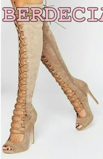 beige suede leather Peep toe lace up long boots hollow straps over the knee high shoes Roman style high-heeled sandal boots