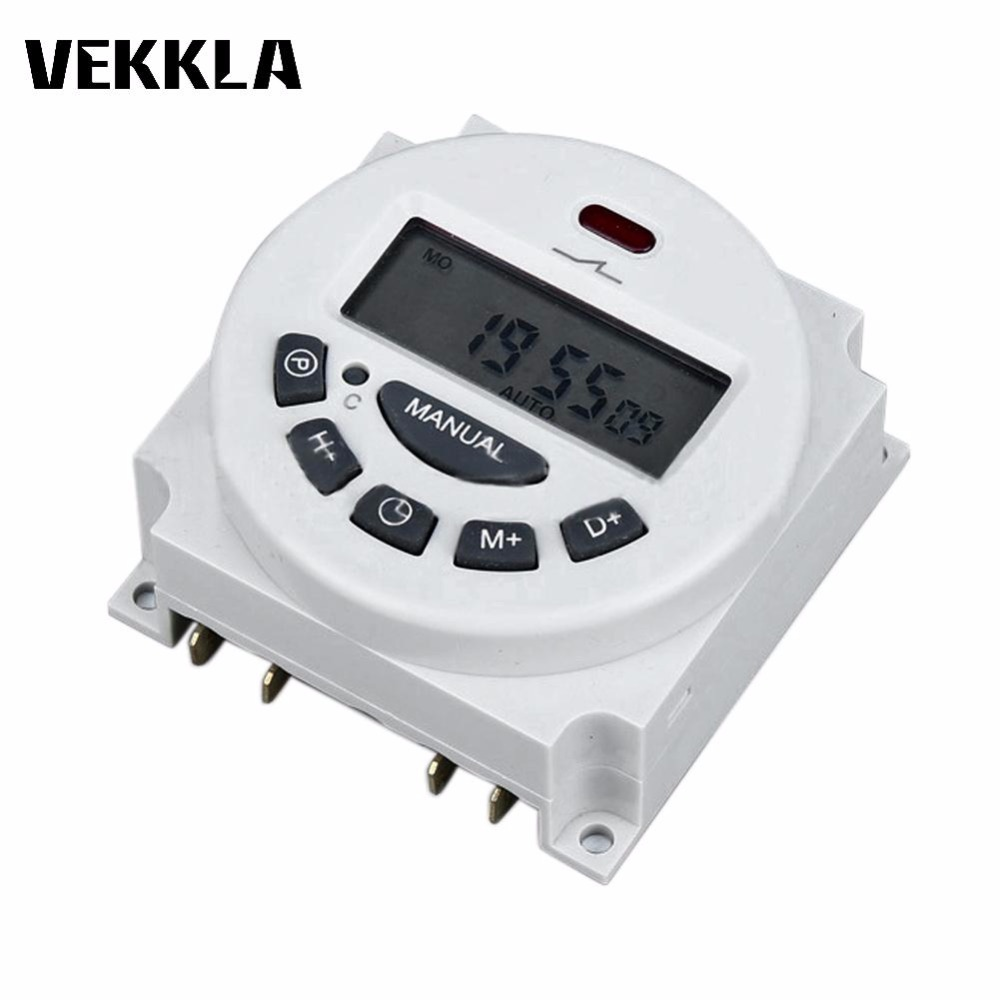 Microcomputer AC 12V 110V 220V LCD Digital Timer Switch Programmable Electronic Relay Switch Time Timer For neon lights клаксон kwok 110db ahh 12v