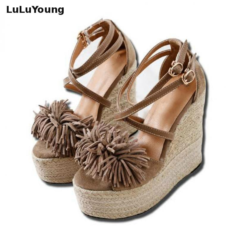 2018 Summer 15cm Super High Heel Lady s Sandals Sexy Fringes Platform Gladiator Sandals Women Wedges