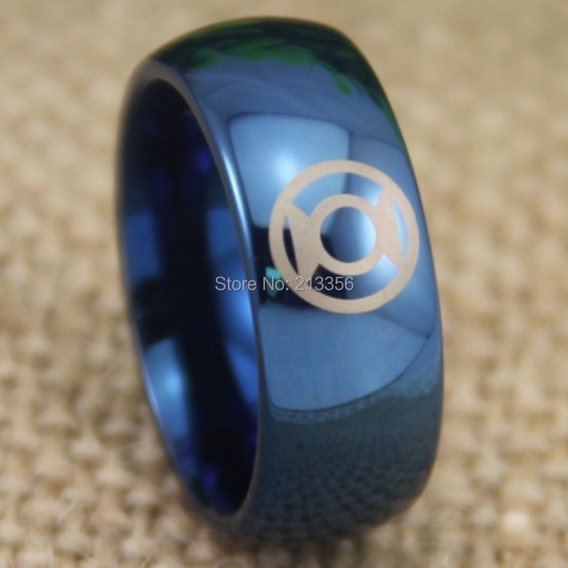 free shipping usa uk canada russia brazil hot selling 8mm shiny blue dome green lantern lord mens fashion tungsten wedding ring - Green Lantern Wedding Ring