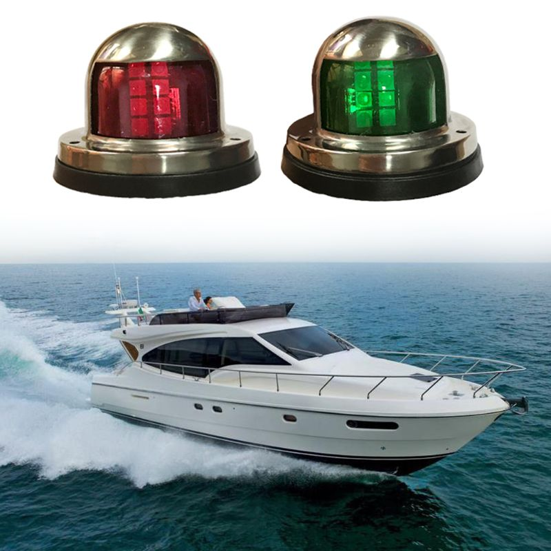 12V Stainless Steel Waterproof Bow Navigation Indicator Spot Light 1Pair Marine Boat Yacht LED Warning boat lights Set