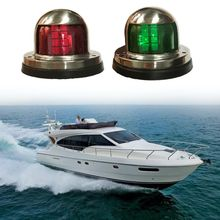 12V Stainless Steel Waterproof Bow Navigation Indicator Spot Light 1Pair Stainless Steel Marine Boat Yacht LED Warning Light boat lights Set 39 4ft 12m marine boat yacht 1 nautical mile led bi color navigation lights