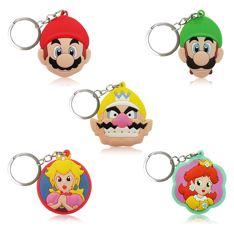 1PCS Super Mario PVC Keychains Cartoon Figure Key Ring Cute Key Holder Children DIY Toy Pendant Xmas  Party Gifts