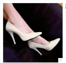 Women's Cheap Plain big size(4-12) Elegant Single high heels pointy toe Office shoes patent leather Lady Pumps Yellow OL Kovell
