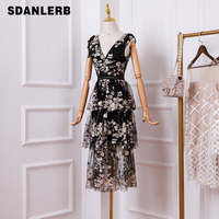 Summer Long Black Dress Women's 2019 New Fashio Beads Embroidered Sequins Classic Black Dresses Lady Party Cake Dress Vestido