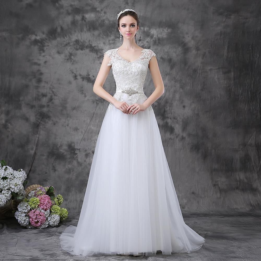 Elegant Lace Covered Back Tulle A Line Funky Wedding Dresses In