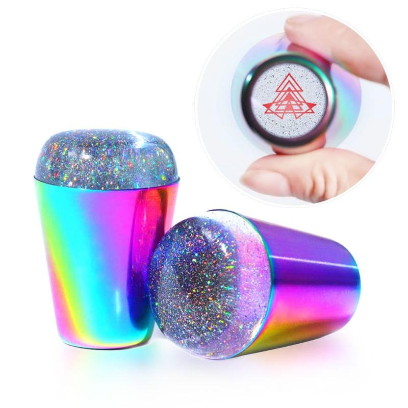 frete gratis ems dhl fedex 50pcs selo da arte do prego reutilizaveis rainbow color grande alca