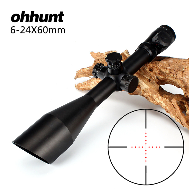 ohhunt 6-24X60 Hunting Rifle Scope Riflescope Mil Dot Glass Etched Reticle Illuminated Side Parallax Adjustment Optical Sight