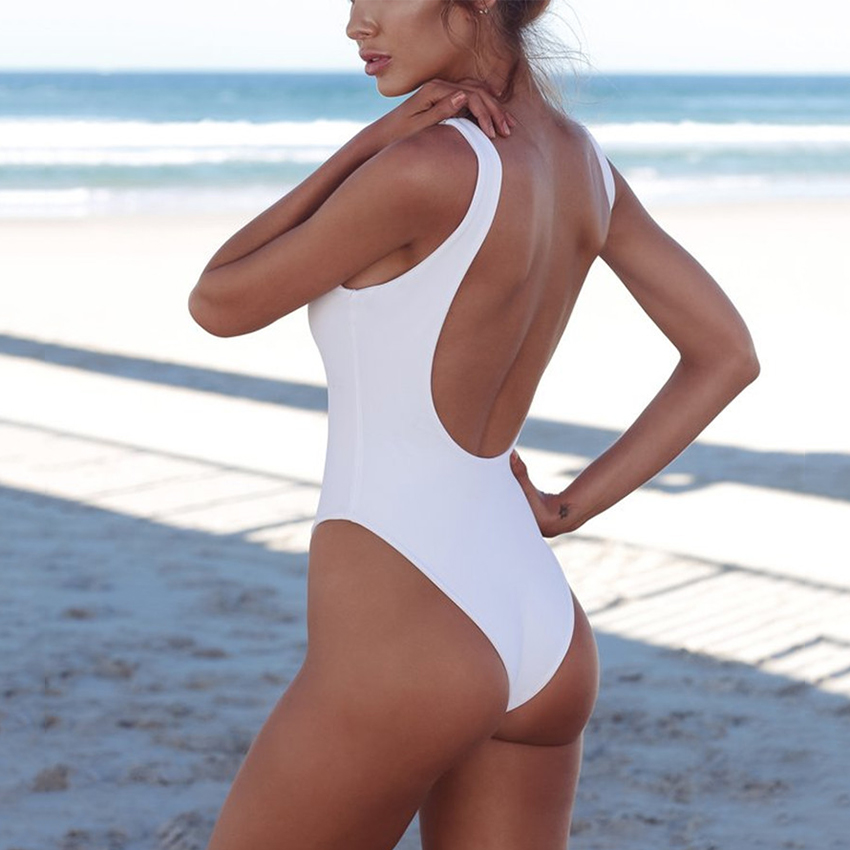 cb01a619dd4ee 2018 Sexy White One Piece Swimsuit Women Thong Swimwear High Cut ...