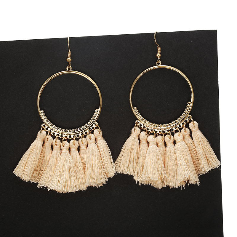 F21 Bohemian Handmade Statement Tassel Earrings for Women Vintage Round Long Drop Earrings Wedding Party Bridal Fringed Jewelry