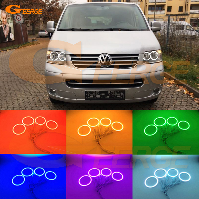 For Volkswagen VW Transporter Caravelle T5 2003-2009 Excellent Multi-Color Ultra bright RGB LED Angel Eyes kit Halo Rings