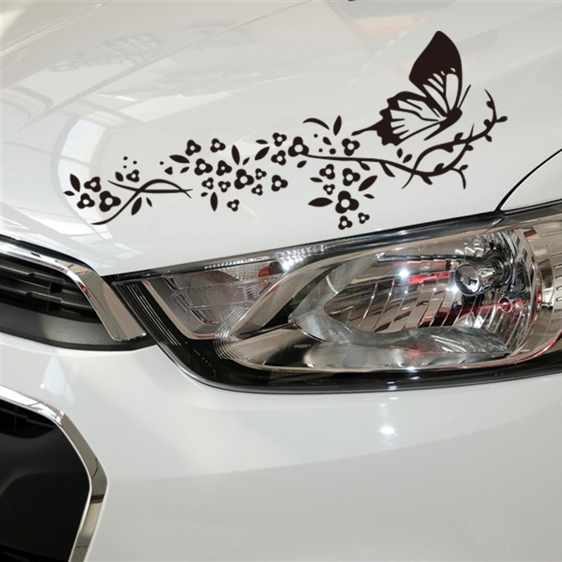 Romantic flowers design car bump decor stickers and decals,reflective grossy vinyl die cut labels for ford/volkswagen/vw/bmw e46 fashionmotor sport design automobiles vinyl accessories die cut door decor car styling sticker for toyota ford focus opel