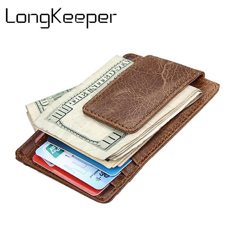 Genuine Leather SLIM A MOLLA MINI denaro Clip carta di credito ID Card Holder Case