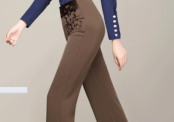 Noir bleu Femme Mode brown Pour Pantalon Red Rouge Large Haute Nouveau Pantalon 2018 Femmes Été Fleur Jambe Printemps Taille Automne Broderie Casual xYCq1Sqw