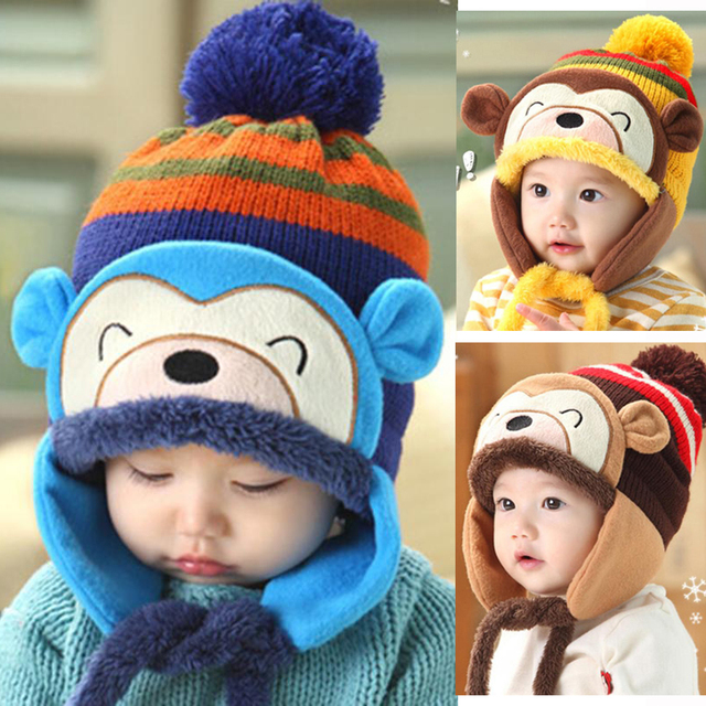 3659dbc1961 Baby Winter Warm Cap Hat Beanie Skullies Monkey Crochet Earflap Hats newborn  photography props children s hats