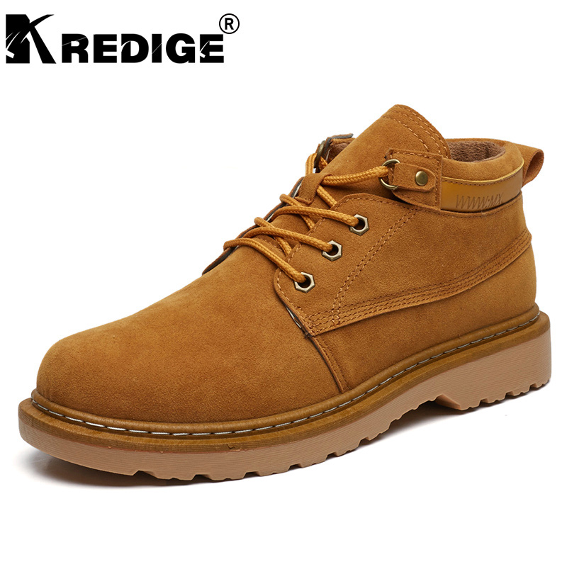 KREDIGE British Winter Warm Martin Boots Mens Anti-Skid Height Soles Suede Lace-Up Shoes ...