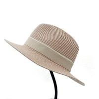 Women Men Summer Fashion Adjustable Caps Wide Brim Straw Sewing Band Casual Elegant Beach Panama Church
