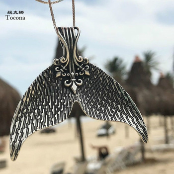 Tocona Mystical Mermaid Pendant Necklace Antique Silver Whale Tail Charm Chokers Necklaces Collar for Women Boho Jewelry 6113