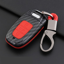 ABS Carbon Fiber Shell+Silicone Cover Key Case Cover For Audi A3 A4 B6 B7 B8 A4L A5 A6 C5 C6 A6L Q5 Q7 S5 S7