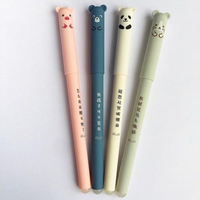 4 unids/lote lindo Animal Panda ratón borrable Gel tinta pluma 0,35mm Gel pluma escuela Oficina suministro regalo estudiantes papelería