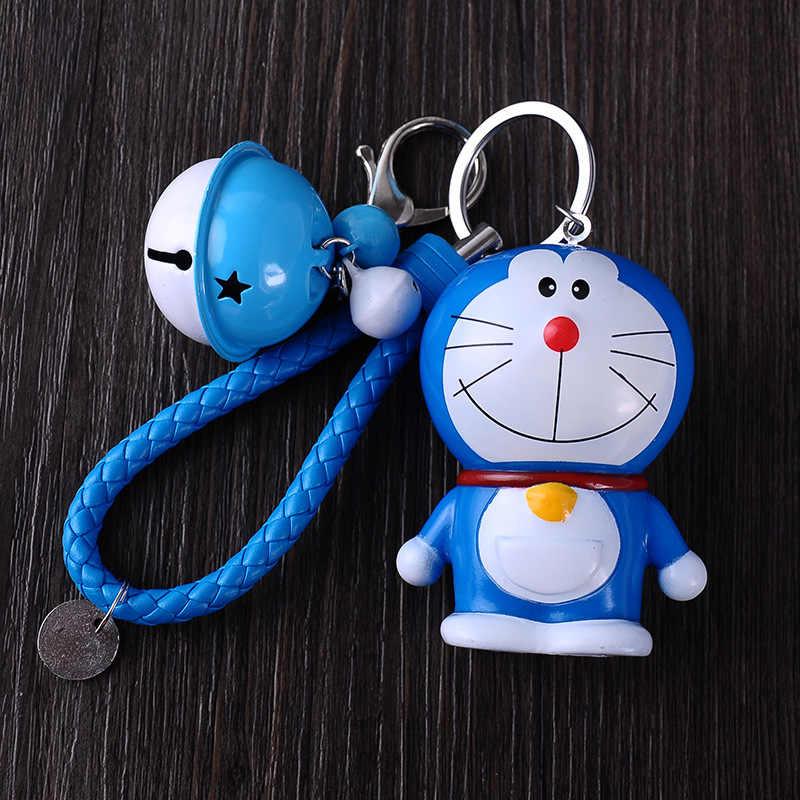 Bonito dos desenhos animados Anime Pele De Coelho Pom Pom Gato Doraemon Sino Chaveiro Bugigangas Presente Anel Chave Saco Chaveiro Carro Das Mulheres porte Clef