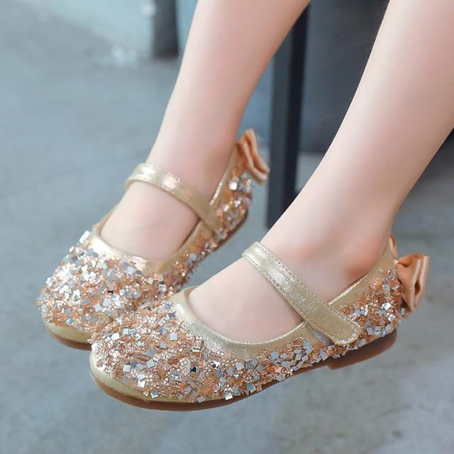 8f2a5b30c0b Gold Little Flower Girls Kids Baby Children s Rhinestones Glitter Princess  Dress Shoes For Girls Dance Wedding
