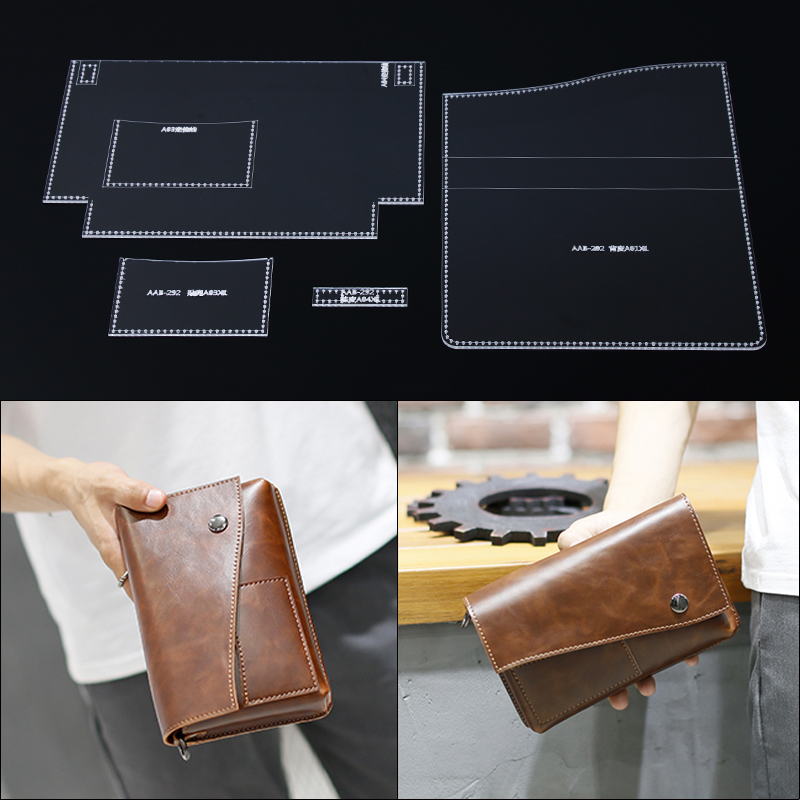 1pc Clear Acrylic Wallet Pattern Template Sets Leather Craft DIY Tool 12*9*1cm