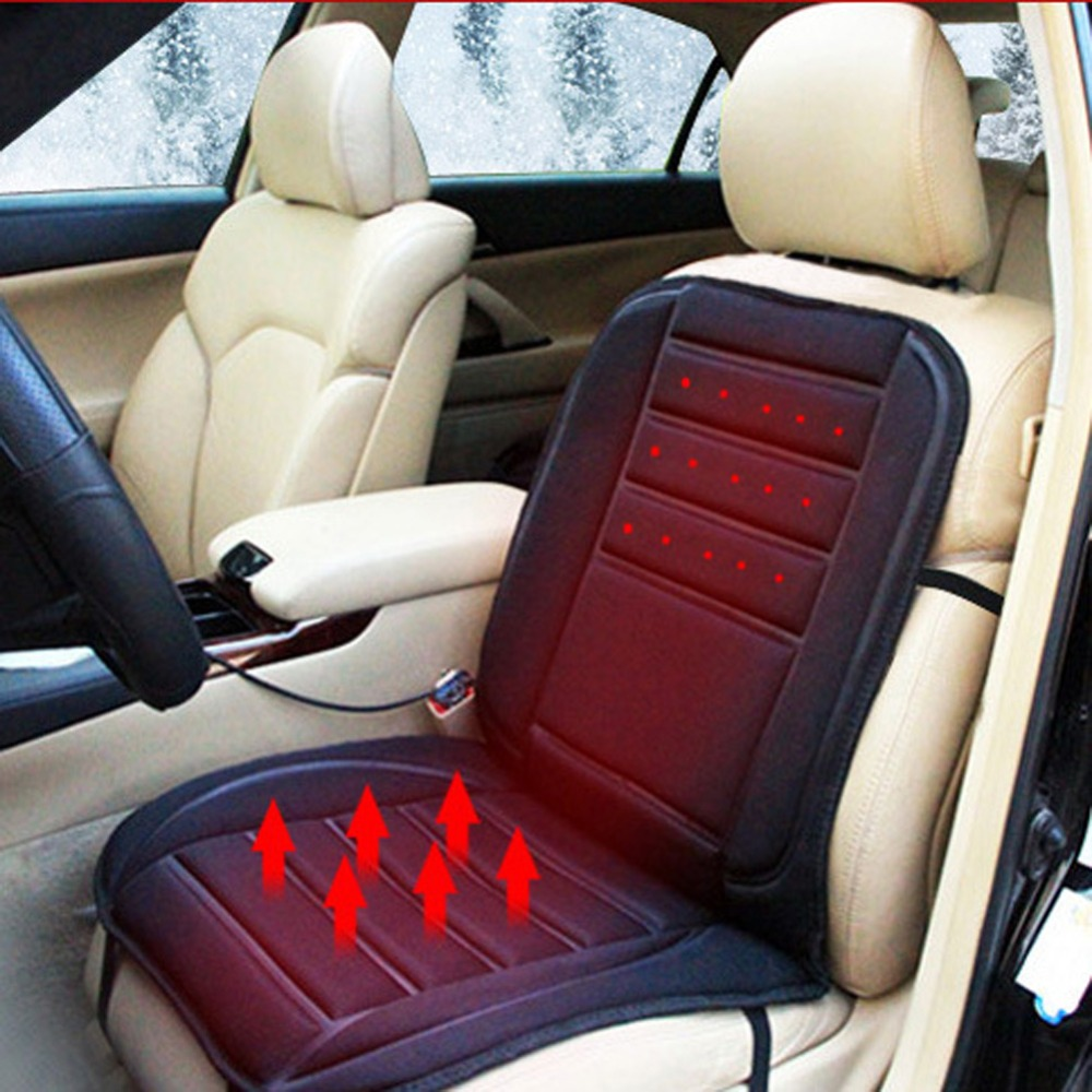 Black Car Heated Seat Cushion Cover Auto 12V Heating Heater Warmer Pad Winter Seat Cover Temperature