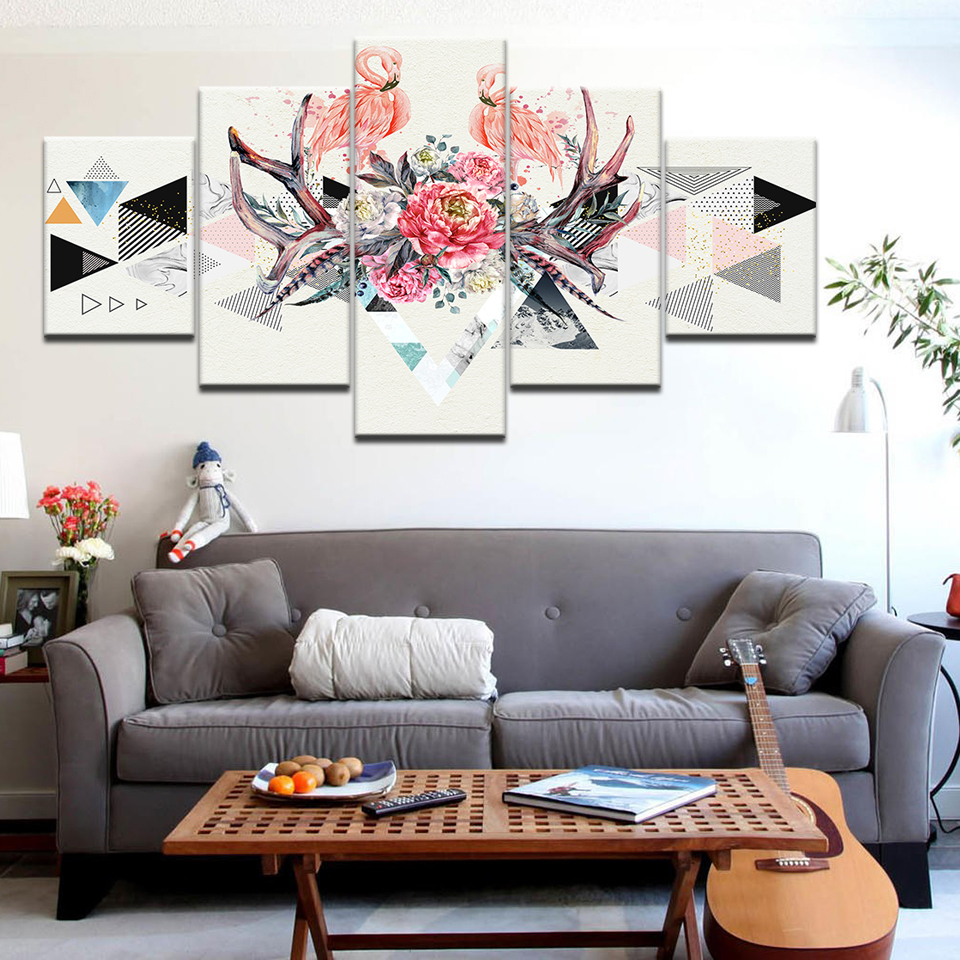 Abstract Geometric Diagram Wall Art Canvas Painting Flower Animal Bird Pink Mural Flamingo Home Decor Living Room Picture Poster