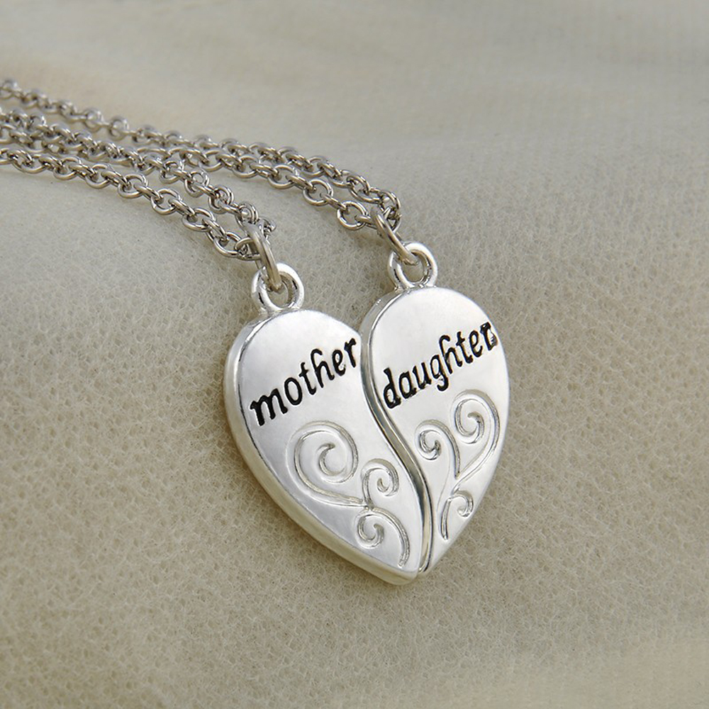ee7f523c4 FAMSHIN 2PC Silver Plated Mother Daughter Necklace Silver Heart Love Mom  Necklaces & Pendants For Women Jewelry Collier Femme-in Pendant Necklaces  from ...