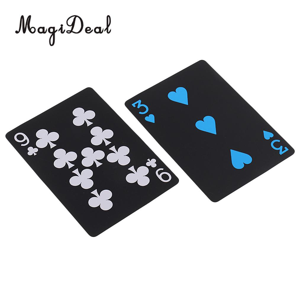 1 Deck Black Waterproof Plastic Playing Cards Game Pokers Table Board Games ...