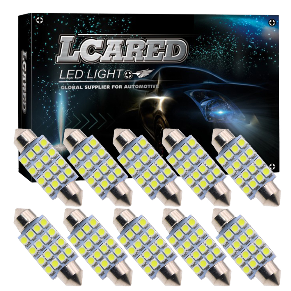 CQD-Light 10pcs Super Bright 31mm 36mm 39mm 42mm 16 SMD 3528 Car Interior Dome Festoon LED Light Bulbs Lamp White 12V merdia festoon 31mm 1w 50lm 4 x smd 5050 led white light car dome light bulb 12v 2 pcs