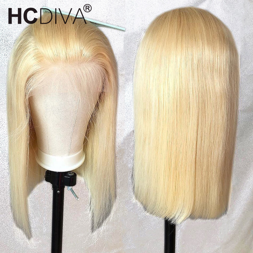 Blonde Lace Front Wig 613 Straight Short Bob Lace Front Wig Pre Plucked With Baby Hair