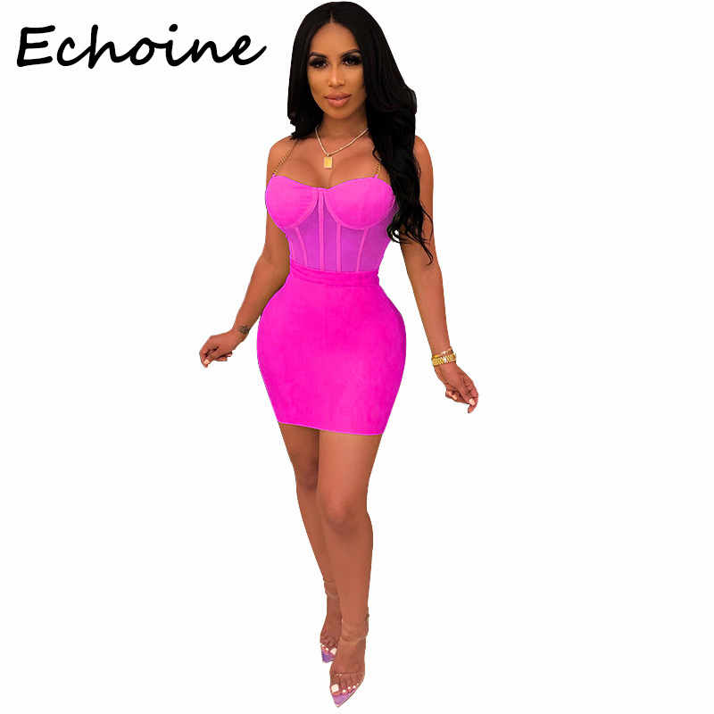 Echoine Sexy Spaghetti Straps Sheer Mesh Two Piece Set Crop Top + Bodycon Mini Dress Women Two Piece Outfits